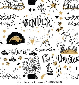 Wonderful adventure pattern. Hand drawn lettering and illustration. Vector art. Travel and adventure concept. Adventure pattern. Adventure and travel illustration.
