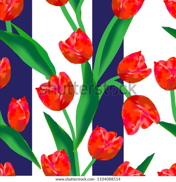 Wonderful, beautiful, red tulips and green leaves. A gorgeous background that consists of dark-blue and white stripes This is a seamless pattern. Can be used for various fabrics and paper.
