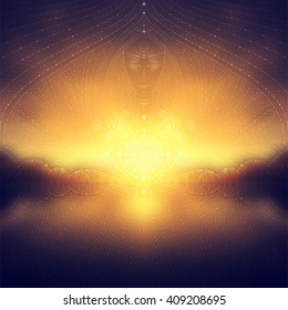 wonderful blurred landscape with transparent geometric patterns and stars, spirit of the sun and flower of life, visionary art, vector