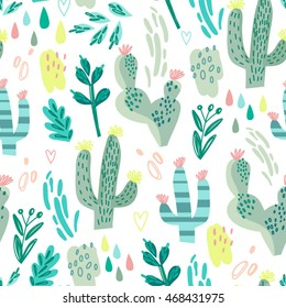 Wonderful cacti pattern in lovely graphic style.