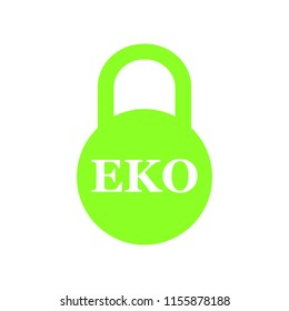 A wonderful concept of a closed green lock with an EKO inscription on a white background