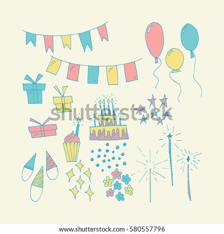 Wonderful Hand Painted Birthday Symbols For Amazing Greeting CardsHappy Card Design ElementsHand Drawn Bundle Your Designst Shirtsbags