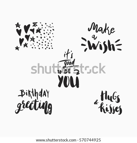 Wonderful Handwritten Birthday Wishes Amazing Greeting Stock Vector