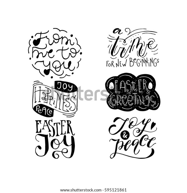 Wonderful handwritten Spring & Easter quotes for amazing greeting cards. Card overlay design elements.Hand drawn lettering typography for your designs:t-shirts,bags,posters, invitations, cards, etc.
