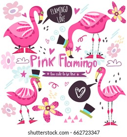 Wonderful illustration/set of pink flamingo and flowers.