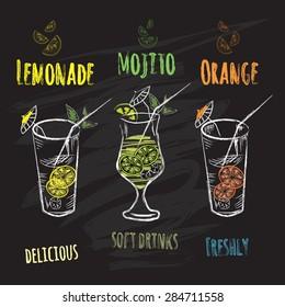 Wonderful lemonade mojito orange, drawn in chalk on a blackboard, banner, vector illustration