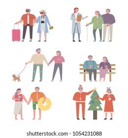 A wonderful lifestyle of an elderly couple. vector illustration flat design
