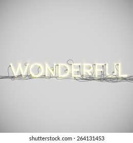 """""""Wonderful"""" made by neon type, vector"""
