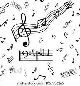 A wonderful musical note pattern. Nota, violin and bass keys.Back background is white.