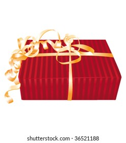 Wonderful red gift with golden roll ribbon bow. Vector illustration.