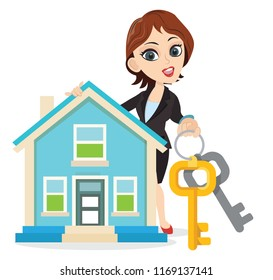 Wonderful smart girl holding a real estate house home building handing over keys for the house sale delivery handover rental service loan buy successful property business