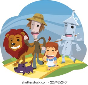 The Wonderful Wizard of Oz characters happily walking on the yellow brick road  illustration cartoon.