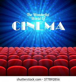 The Wonderful World Of Cinema, vector background with screen and red seats