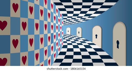 不思議の国の背景: チェスボードの床と多くの鍵穴のドアを持つ魔法の部屋