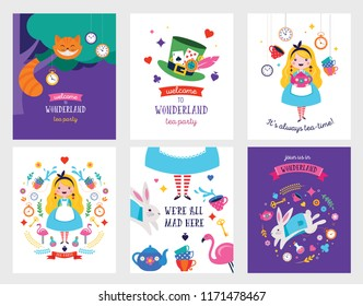 Wonderland banner, poster and card. Colorful vector background