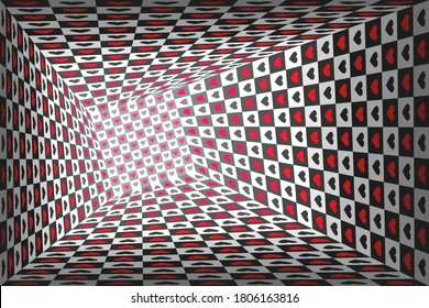 Wonderland black and white chess background with red hearts