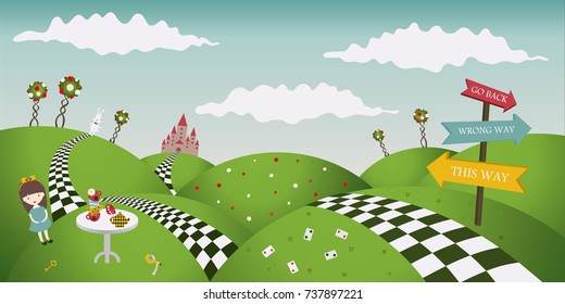 Wonderland fantastic landscape with roses. Alice and the white rabbit. Horizontal banner, vector illustration