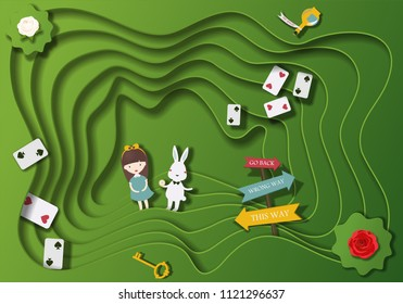 Wonderland fantastic landscape with white and red roses. Alice and the white rabbit in rabbit hole. Vector illustration(the characters in fantasy tales Alice in wonderland) cut paper background
