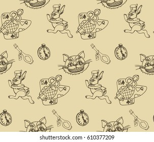 Wonderland hand drawn seamless pattern. Vector vintage monochrome illustration for tale Alice in Wonderland.