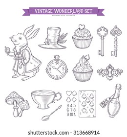 Wonderland hand drawn set of design elements. Vector vintage monochrome illustration.