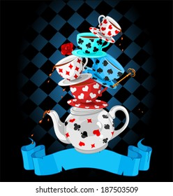 Wonderland Mad Tea Party Pyramid design
