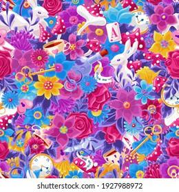 ワンダーランドのシームレスな模様。 多くのオブジェクトの背景に明るい色の漫画の落書き、詳細に描かれます。 花、白いうさぎ、カード、キノコ。 布地、壁紙、装飾的な印刷物のテクスチャー