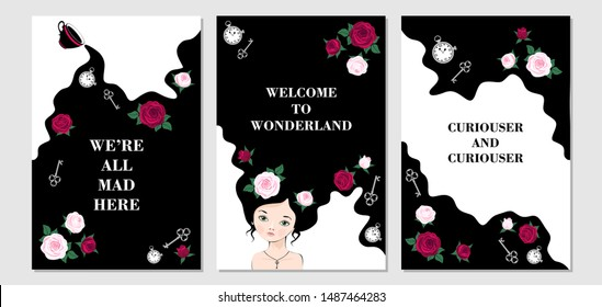 Wonderland set of card. Tea flows out of cup. Alice with roses in hair.  Roses, keys and clocks fall down rabbit hole.  Inscriptions  we're all mad here, welcome to wonderland, curiouser and curiouser
