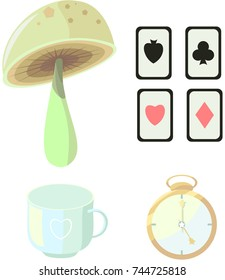 Wonderland. Set of images: mushroom, card, cup and clock. Vector.