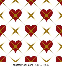 Wonderland white, red, gold seamless pattern with hearts. Abstract grid red queen artistic modern background. Gothic valentine illustration for fabric design, wallpaper, decorative paper, web design.