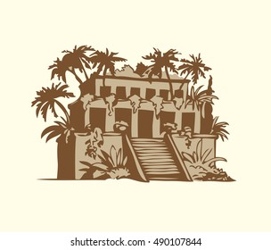 Wonders of Ancient World. Gardens of Babylon isolated on white backdrop. Freehand outline ink hand drawn background sketch in art doodle retro style pen on paper. Front view with space for text on sky