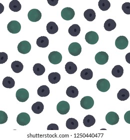 Wondrous Abstract pattern with purple and green polka dots. Elements are not cropped. Pattern under the mask. Seamless Vector. Perfect design for textile, box, posters, cards, web etc.