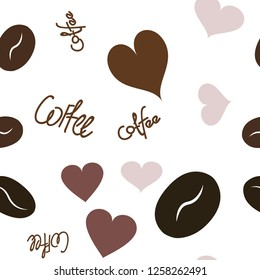 Wondrous Continuous Pattern with Heart, text and coffee. Elements are not cropped. Pattern under the mask. Vector. Perfect design for textile, box, posters, cards, web etc.