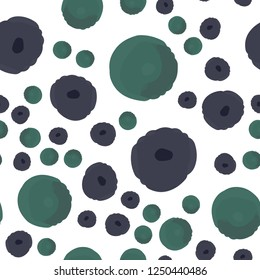 Wondrous Continuous pattern with polka dots is purple and green colors. Elements are not cropped. Pattern under the mask. Vector. Perfect design for textile, box, posters, cards, web etc.