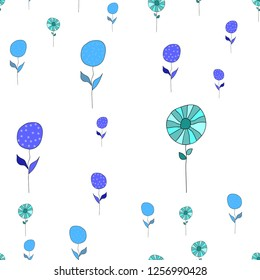 Wondrous Pattern with Different Color Flowers. Elements are not cropped. Pattern under the mask. Vector. Perfect design for textile, box, posters, cards, brochures, web etc.