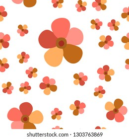 Wondrous Pattern with Flowers Living Coral color. For your design, textile,  pattern fills, posters, cards, background etc. Elements are not cropped. Pattern under the mask. Vector.