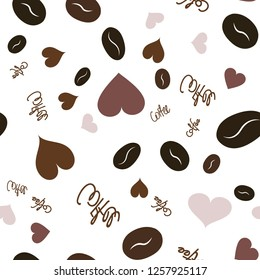 Wondrous Pattern with Heart, text and coffee. Elements are not cropped. Pattern under the mask. Vector. Perfect design for textile, box, posters, cards, web etc.