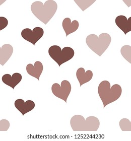 Wondrous Pattern with Hearts  in chocolate color. Elements are not cropped. Pattern under the mask. Vector. Perfect design for textile, box, posters, cards, web etc.