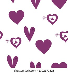 Wondrous Pattern with Hearts Dark moderate pink color. Endless pattern can be used for design, textile, pattern fills, posters, cards, web page background etc. Pattern under the mask. Vector.