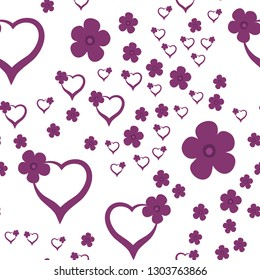 Wondrous Pattern with Hearts and Flowers Dark moderate pink color. For your design, textile, pattern fills, posters, cards, background etc. Elements are not cropped. Pattern under the mask. Vector.
