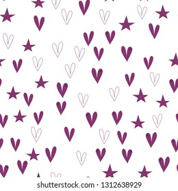 Wondrous Pattern with Hearts and Stars Dark moderate pink color. This pattern can be used for design, textile, pattern fills, posters, cards, web page background etc. Pattern under the mask. Vector.