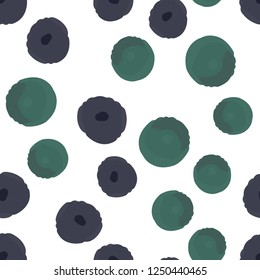 Wondrous pattern with purple and green polka dots. Elements are not cropped. Pattern under the mask. Seamless Vector. Perfect design for textile, box, posters, cards, web etc.
