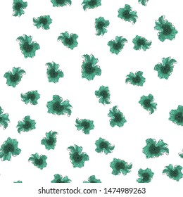 Wondrous Seamless pattern with flowers Dark moderate cyan color. Can be used for printing on packaging, bags, cups, laptop, box, etc. Pattern under the mask. Vector.