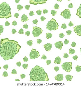 Wondrous Seamless pattern with flowers green. Can be used for printing on packaging, bags, cups, laptop, box, etc. Pattern under the mask. Vector.