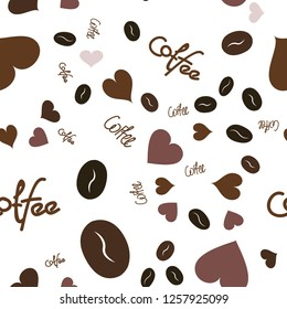 Wondrous Seamless Pattern with Heart, text and coffee. Elements are not cropped. Pattern under the mask. Vector. Perfect design for textile, box, posters, cards, web etc.