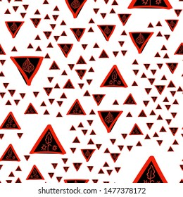Wondrous Seamless pattern with Triangles Black and Vivid red color. Can be used for printing on packaging, bags, cups, laptop, box, etc. Pattern under the mask. Vector.