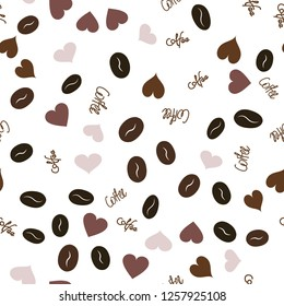 Wondrous Vector Pattern with Heart, text and coffee. Elements are not cropped. Pattern under the mask. Vector. Perfect design for textile, box, posters, cards, web etc.