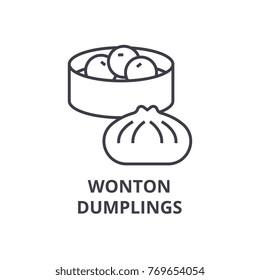 wonton, dumplings line icon, outline sign, linear symbol, vector, flat illustration
