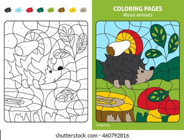 Wood Animals Coloring Page For Kids Hedgehog In Forest Printable Design Book