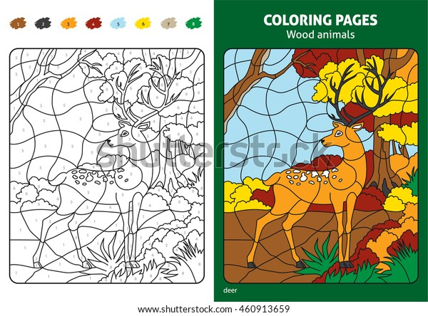 Wood Animals Coloring Page Kids Deer Stock Vector (Royalty ...