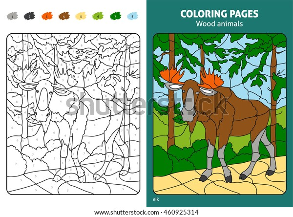 Wood Animals Coloring Page Kids Elk Stock Vector (Royalty ...